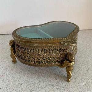 Gold ormolu style music box jewelry case w/ angels
